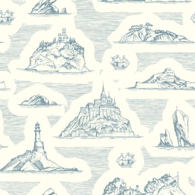 Tapeta Vector abstract seamless background on the theme of travel, adventure and discovery. Old hand drawn map with islands, lighthouses and sailboats in retro style