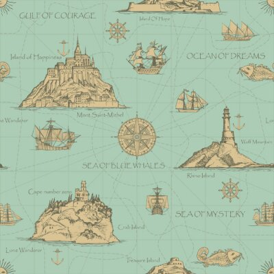 Tapeta Vector abstract seamless background on the theme of travel, adventure and discovery. Old hand drawn map with islands, lighthouses, sailboats and inscriptions in retro style