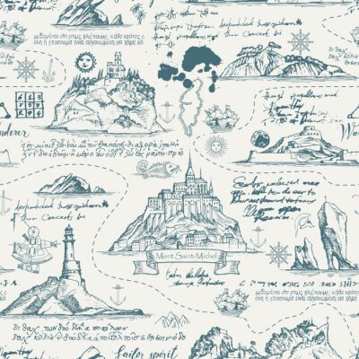 Tapeta Vector abstract seamless background on the theme of travel, adventure and discovery. Old manuscript with islands, lighthouses, sailboats and nautical symbols with ink blots and stains in vintage style