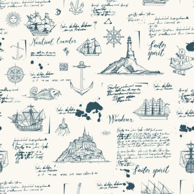 Tapeta Vector abstract seamless background on the theme of travel, adventure and discovery. Old manuscript with islands, sailboats, wind rose and nautical symbols with blots and stains in vintage style