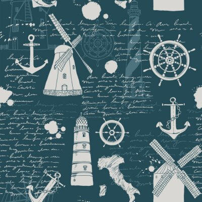 Tapeta Vector abstract seamless pattern,  theme of travel and adventure, old manuscript, text, lighthouses, wind mills, ship wheels, anchors and other nautical symbols, vintage background