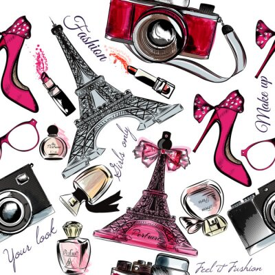 Tapeta Vector bezszwowe tło mody perfum Eifel Tower buta