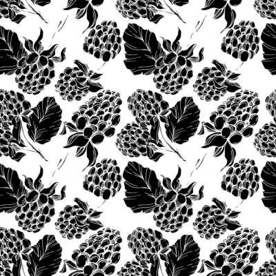 Tapeta Vector Blackberry healthy food. Black and white engraved ink art. Seamless background pattern.