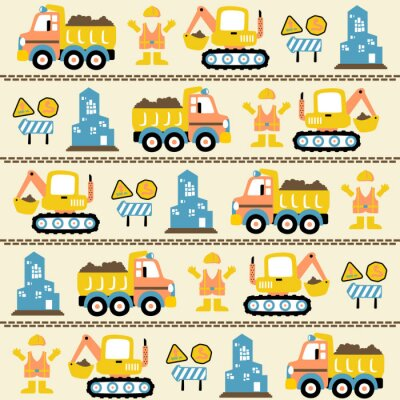 Tapeta vector cartoon seamless pattern with construction vehicles, construction signs, worker uniform, buildings.