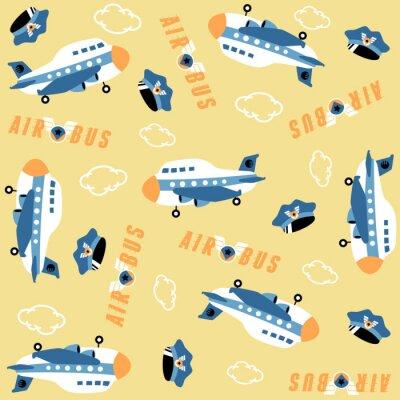 Tapeta vector cartoon seamless pattern with plane, pilot hat, clouds
