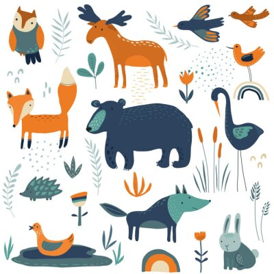 Tapeta Vector collection of hand drawn forest animals, flowers and plants.