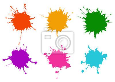 Tapeta Vector Colorful paint splatters.Paint splashes set.Vector illustration design.