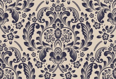 Tapeta Vector damask seamless pattern element. Classical luxury old fashioned damask ornament, royal victorian seamless texture for wallpapers, textile, wrapping. Exquisite floral baroque template.