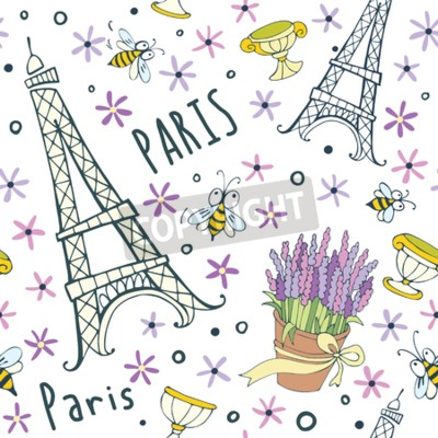 Tapeta Vector Eiffel Towers romantic seamless pattern. Good for wallpaper, wedding invitation, valentine cards, scrapbook, wrapping paper, website background, fashion textile.