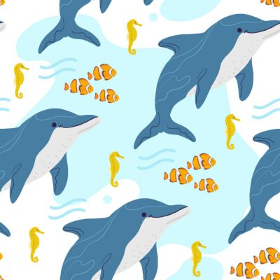 Tapeta Vector flat seamless pattern with hand drawn marine animals, clown fish, seahorse, dolphin, water isolated on white background. Good for packaging paper, cards, wallpaper, gift tags, nursery decor etc