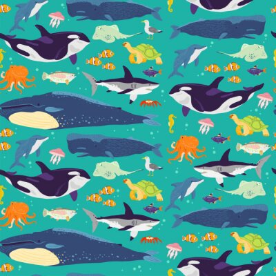 Tapeta Vector flat seamless pattern with hand drawn marine animals, fish,amphibia isolated on blue background. Good for packaging paper, cards, wallpapers, gift tags, nursery decor etc.