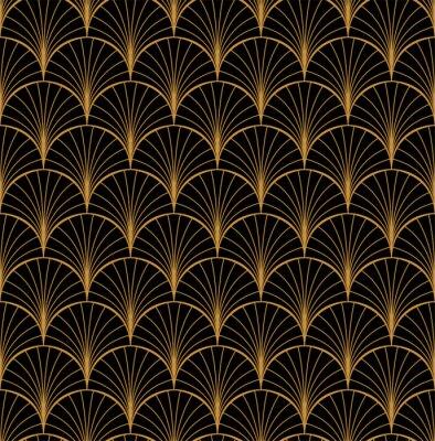 Tapeta Vector Floral Art Nouveau Seamless Pattern. Geometryczna dekoracyjna liść tekstura. Retro stylowy tło.