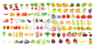 Tapeta Vector fruits and vegetables icon set isolated on white background. Vector illustration.
