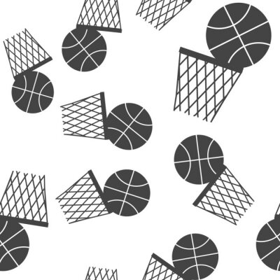 Tapeta Vector icon game of basketball. The ball flies into the basket pattern on a white background.