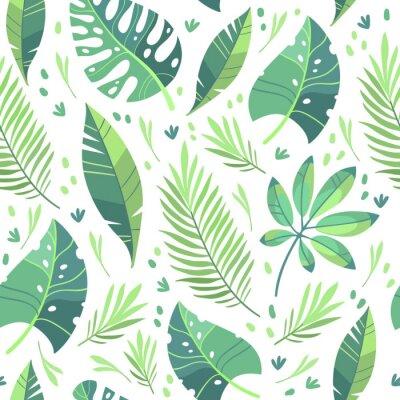Tapeta Vector illustration, flat design. Tropical leaf pattern