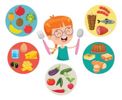 Tapeta Vector Illustration Of Children Food Concept