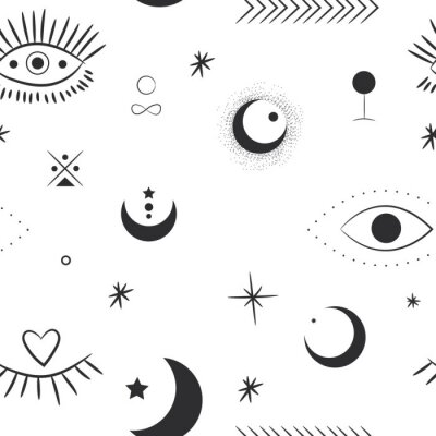 Tapeta Vector illustration set of moon phases. Different stages of moonlight activity in vintage engraving style. Zodiac Signs