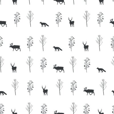 Tapeta Vector illustration. Trees,deers and fox silhouettes background. Vector seamless pattern. Fabric print element. Paper design.