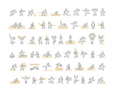 Tapeta Vector linii sportowych ikon. otwarta droga