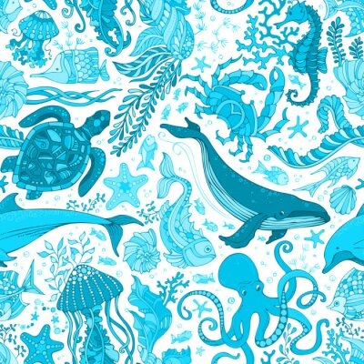 Tapeta Vector niebieski podwodne życie morskie bezgraniczna tła.