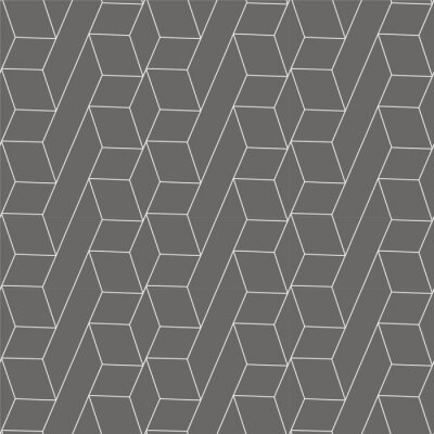 Tapeta Vector outline 3d geometric pattern seamless retro style for textiles, book cover design, website, wallpaper, packaging, corporate background.