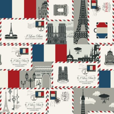 Tapeta Vector seamless Background on France and Paris theme with envelopes, architectural landmarks and flag of French republic in retro style. Can be used as wallpaper or wrapping paper