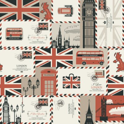 Tapeta Vector seamless Background on UK and London theme with envelopes, British symbols, architectural landmarks and flag of the United Kingdom in retro style. Can be used as wallpaper or wrapping paper