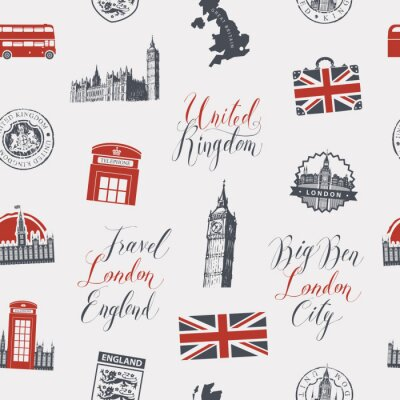 Tapeta Vector seamless Background on UK and London theme with inscriptions, British symbols, architectural landmarks and flag of the United Kingdom in retro style. Can be used as wallpaper or wrapping paper