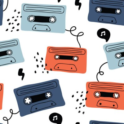Tapeta vector seamless background pattern with retro audio cassette with rock music for fabric, textile,wallpaper,wrapping paper, notebook covers,background