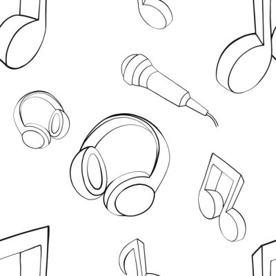 Tapeta Vector seamless pattern graphic illustration of headphones, music notes, microphone Sketch drawing, doodle style. abstract black and white silhouette Print for fabric, wallpaper, packaging, background