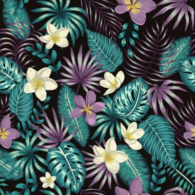 Tapeta Vector seamless pattern of emerald green tropical leaves with white and purple plumeria flowers on black background. Summer or spring repeat tropical backdrop. Exotic jungle ornament..