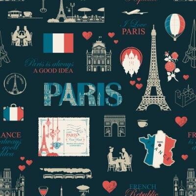 Tapeta Vector seamless pattern on France and Paris theme with drawings, inscriptions, architectural landmarks, map and flag of French republic in retro style. Can be used as wallpaper, wrapping paper, fabric