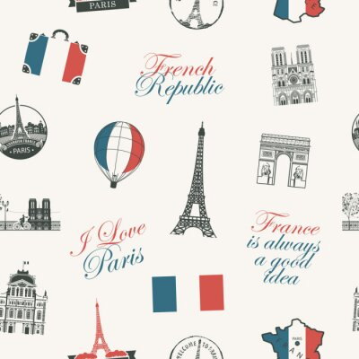 Tapeta Vector seamless pattern on France and Paris theme with inscriptions, architectural landmarks and flag of French Republic in retro style. Can be used as background, wallpaper, wrapping paper or fabric