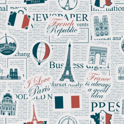 Tapeta Vector seamless pattern on France and Paris theme with inscriptions, architectural landmarks and flag of French Republic in retro style on the newspaper background. Wallpaper, wrapping paper, fabric