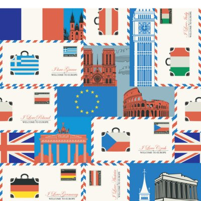 Tapeta Vector seamless pattern on the theme of travel to countries of Euro union. Repeatable background with flags, envelopes, postcards and architectural landmarks. Wallpaper, wrapping paper, fabric