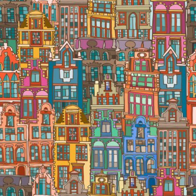 Tapeta Vector seamless pattern with abstract colorful fictional Dutch houses. Hand drawn.