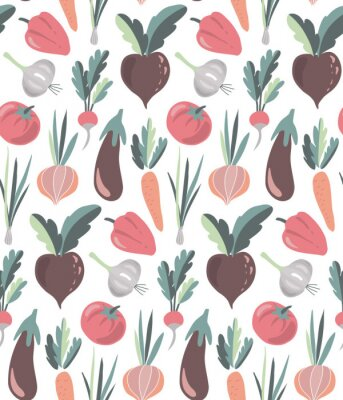 Tapeta Vector seamless pattern with colorful fresh organic vegetables.