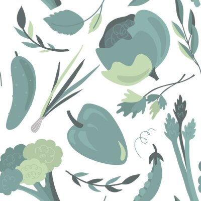 Tapeta Vector seamless pattern with colorful fresh organic vegetables. Endless healthy food, vegan, farm natural background.