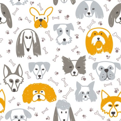Tapeta Vector seamless pattern with dogs