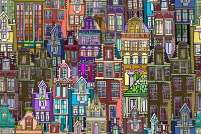 Tapeta Vector seamless pattern with Dutch fictional vintage houses. Hand drawn.