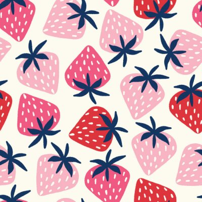 Tapeta Vector seamless pattern with hand-drawn strawberries in pink and red on an off white background