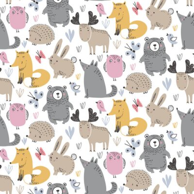 Tapeta Vector seamless pattern with hand drawn wild forest animals,