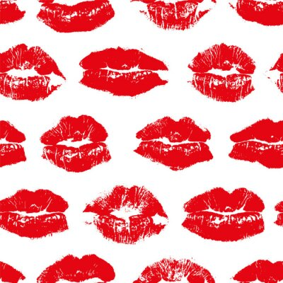 Tapeta Vector seamless pattern with imprint kiss red lips