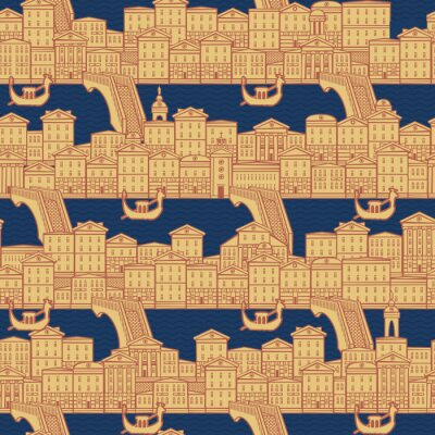 Tapeta Vector seamless pattern with old hand drawn houses along the canals with bridges and gondolas. Cityscape background in retro style, can be used as wallpaper, wrapping paper, textile, fabric