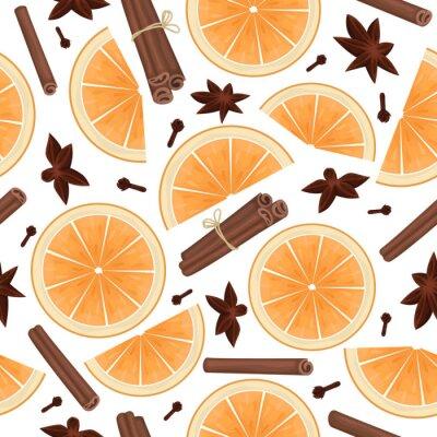 Tapeta Vector seamless pattern with orange slices, cinnamon sticks, star anise and cloves