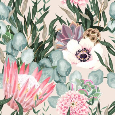 Tapeta Vector seamless pattern with protea and greenery