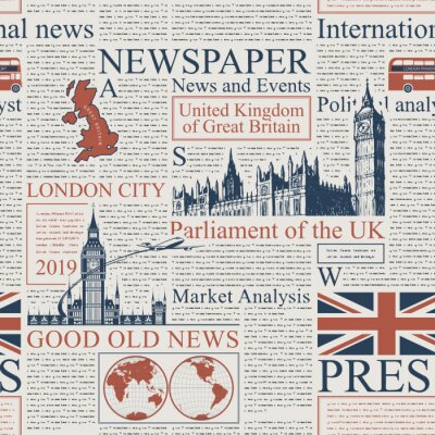 Tapeta Vector seamless pattern with UK or London newspaper. Page of newspaper or magazine with headings, illustrations and unreadable text. Can be used as wallpaper, wrapping paper or fabric