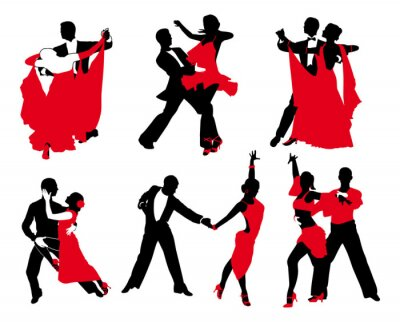 Tapeta vector set of red and black couples