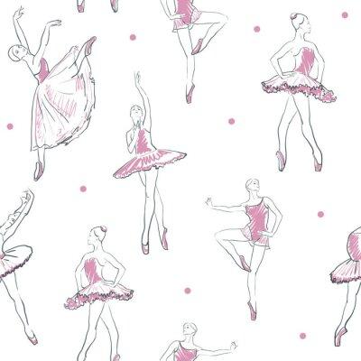 Tapeta vector szkic dziewczyny baletnicy szwu wzór