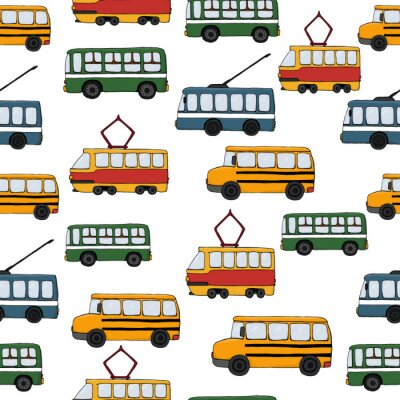 Tapeta Vector transportation seamless pattern.Children repeating background with bus, tram, school bus, trolleybus. Endless backdrop for kids with public transport